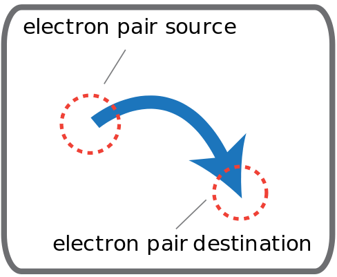 Curly arrow indicating movement of an electron pair