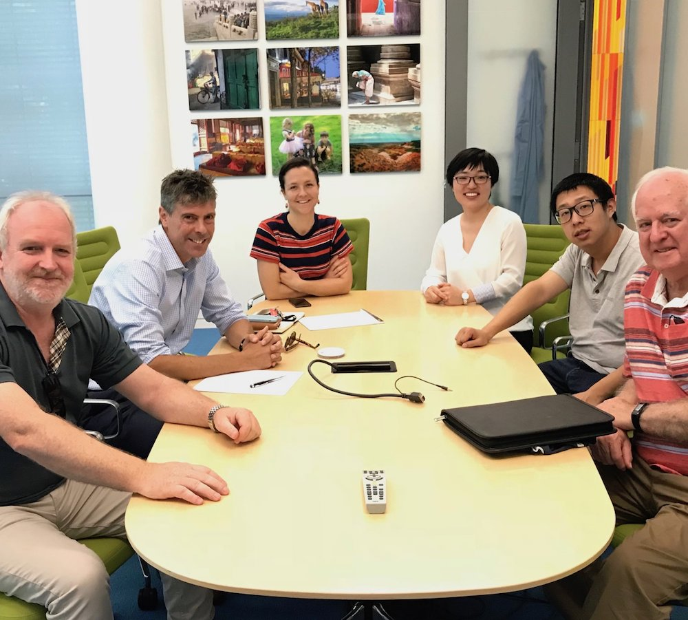 Left to Right: Assoc Prof Trevor Smith, Prof Greg Scholes, Dr Siobhan Bradley, Can Gao, Bolong Zhang, Prof Ken Ghiggino at the Frick Chemistry Laboratories, Princeton University.