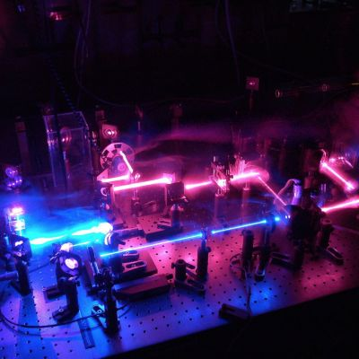 An image displaying ultrafast spectroscopy equipment at The University of Melbourne's School of Chemistry