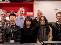 A picture of the members of Dr Chris Hall's research group in the Ultrafast and Microspectroscopy Laboratories at the University of Melbourne