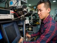 Heyou Zhang is pictured working in the NanoScience Laboratory at The University of Melbourne