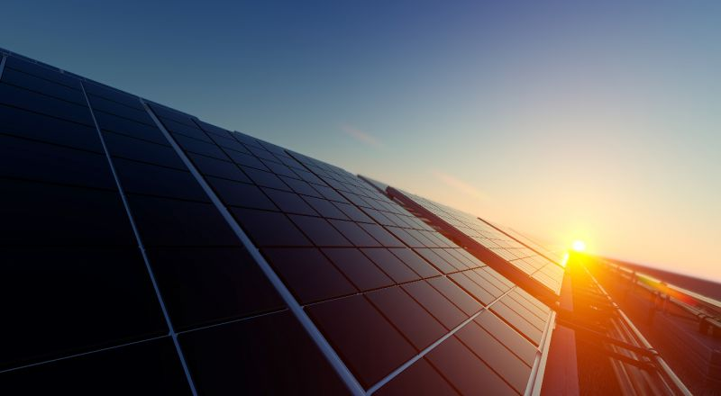An image of solar photovoltaic cells under sunlight